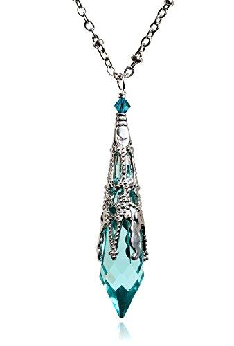 HisJewelsCreations Vintage Inspired Icicle Crystal Silvertone Filigree Victorian Pendant Spike Necklace 8611