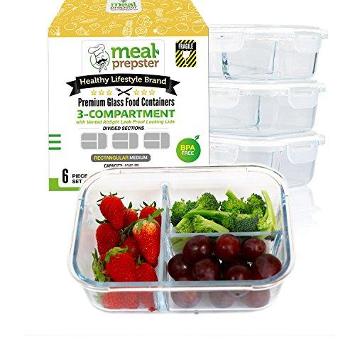 Glass Meal Prep Containers 3 Compartment